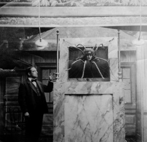 Emmy Hennings on stage as truth speaking spider, 1915 /nd/ sc